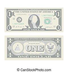 illustration., billet banque, symbole argent, note, currency., espèces, dollar, deux, 1, américain, nous, vector., isolé, dessin animé, une, côtés