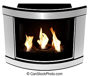 illustration, Bio Fireplace steel convex frame