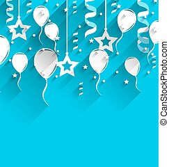 Birthday Background with Balloons, Stars and Confetti