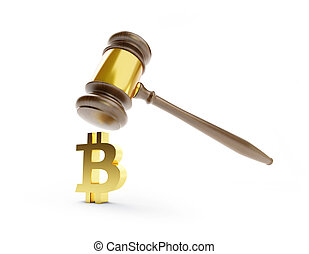 illustration, bitcoin, rendre, fond, blanc, droit & loi, 3d
