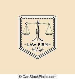 illustration., biuro, skalpy, sprawiedliwość, logo, prawo