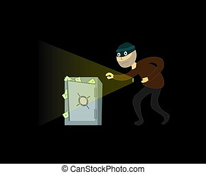 illustration., biztos., pénz, tolvaj, vektor, steals, night.