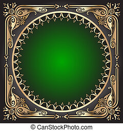 black background with green frame with gold(en) pattern