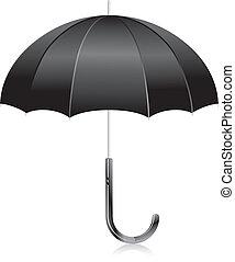 black open umbrella