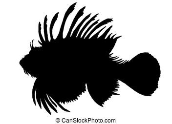 lion-fish - illustration, black silhouette of a lion-fish ...