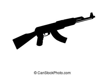 AK 47 - illustration, black silhouette of AK 47 assault ...