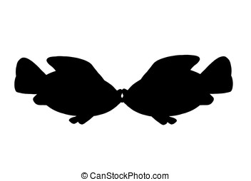 kissing fish - illustration, black silhouette of two kissing...