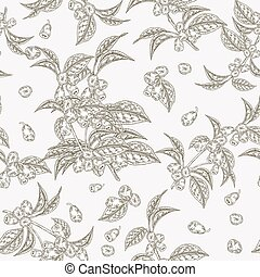 illustration., bladen, pattern., seamless, packaging., vävnad, japonica., vektor, design, lonicera, kaprifol, bär