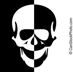 Illustration blak and white skull