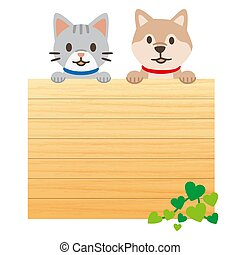 illustration, blanc, message, fond, animaux familiers, planche