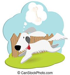 dog - Illustration, blanching dog runs along fence with...