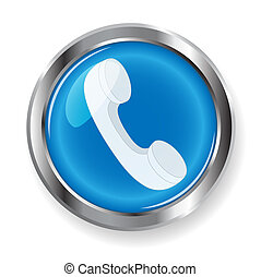 illustration, blanching telephone tube on blue button