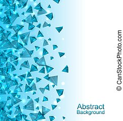 Blue Abstract Background with Pyramids with Light Effects