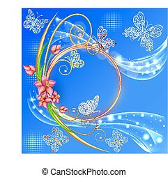 illustration blue background frame