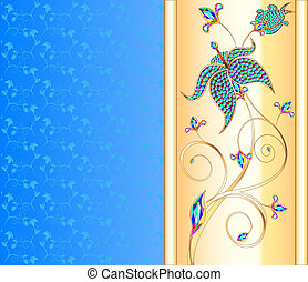 blue background with the Golden flower of precious stones