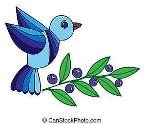 Illustration blue bird with leaf and berry isolated on the white background