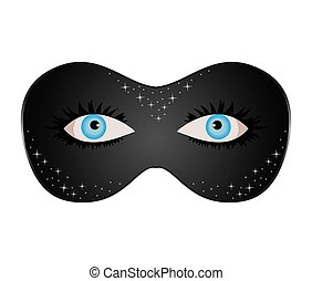blue eyes hidden under theatrical mask - Illustration blue...