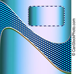 illustration blue metallic technical background for text with the wave of a cubic texture