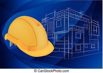 illustration ,Blueprints of architecture and protective helmet