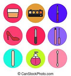 illustration, boîte, style, ensemble, cosmetics:, bordage, ...
