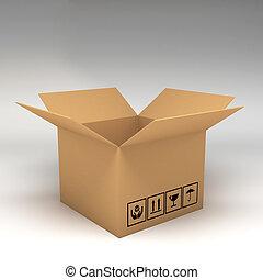 illustration, boîtes, fond, blanc, carton, 3d