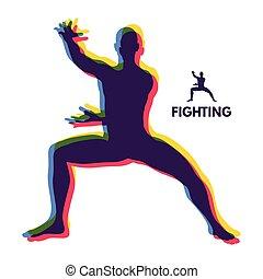 illustration., body., symbool., fighter., krijgshaftig, vector, ontwerp, menselijk, arts., sportende, element.