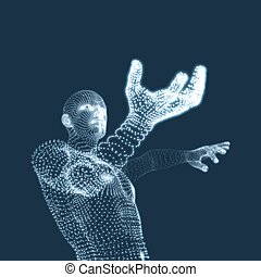 illustration., body., vector, ontwerp, man., menselijk, model, element., 3d