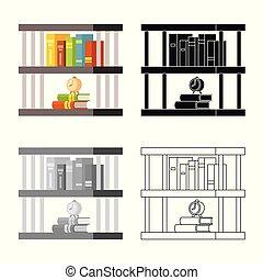 illustration., boekenkast, teken., illustratie, vector, verzameling, boekenplank, boek, liggen