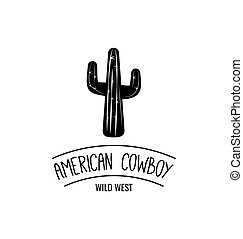 illustration., boiadeiro, oeste, americano, vetorial, ocidental, label., selvagem, cactus.