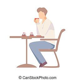 illustration., boissons, table, homme, café, cafe., vecteur