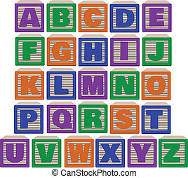 Illustration Bold Color Alphabet Blocks