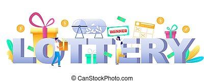 illustration, boldspil, vektor, typografi, banner, skabelon, lotteri