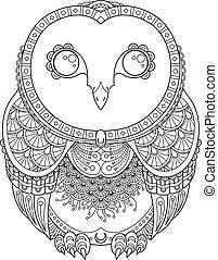 illustration., books., vector, zendoodle, florido, antistress, imagen, búho, colorido, páginas, impresión