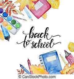 illustration border school items