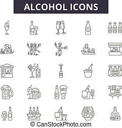 illustration:, bottiglia, bevanda, alcool, vino, set, bevanda, isolato, contorno, concetto, alcool, vector., icone, linea, segni, vetro