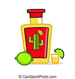illustration., bottle., vettore, mano, tequila, disegnare