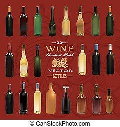 illustration, bottles., vecteur, divers, types, vin