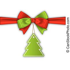 Bow Ribbon with Christmas Tree Label