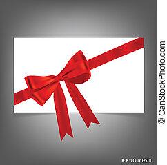 illustration., bows., vetorial, vermelho, fitas, cartão