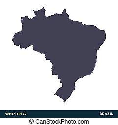 illustration, brésil, eps, amérique sud, vecteur, -, design., logo, icône, pays, 10., carte, gabarit