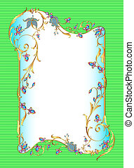 bright green background floral frame with gems
