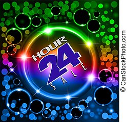 Illustration bright neon background with space stars and the text sale 24 hours in a circle