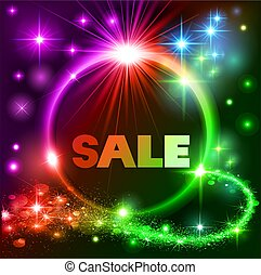 Illustration bright neon background with space stars and the text sale in a circle