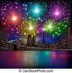illustration bright shiny background with night city and glowing fireworks salute