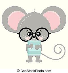 illustration., bril, schattig, stander, boek, muis, poten, pictogram, vector