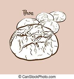 illustration, broa, hand-drawn, pain