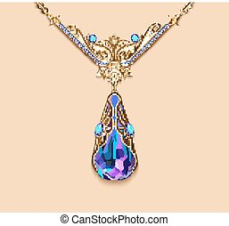 Illustration  brooch pendant with  and precious stones. Filigree victorian jewelry. Design element