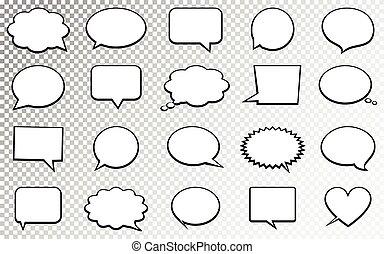 illustration., bubbles., isolé, arrière-plan., vecteur, parole, vide, transparent, vide