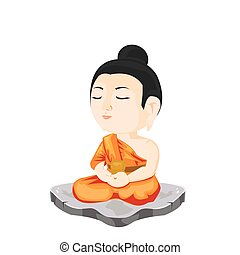 illustration. buddha sitting on stone.