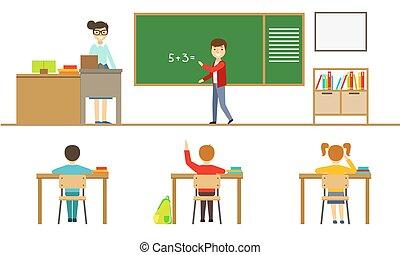 illustration, bureau, écolier, élèves, étudiants, leçon, asseyant, école, enseignement, vue, vecteur, debout, prof, tableau noir, femme